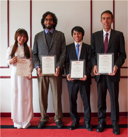 The four winners: (left to right) Ms. Nguyen Tru Thi Ngoc Tram, Mr. M.A. Mujeeb Khan,  Dr. Xie Zhihai,  Dr. James Hommes